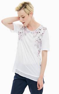 Белая футболка с цветочным принтом Blue Seven