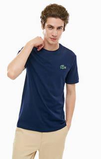 Синяя хлопковая футболка с нашивкой Lacoste