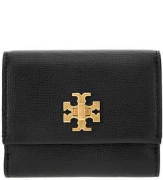 Черный кожаный кошелек с одним отделом для купюр Tory Burch