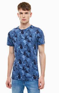 Синяя хлопковая футболка с круглым вырезом Blend
