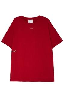 Красная удлиненная футболка C2 H4