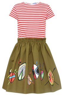 Комбинированное платье из хлопка Stella Jean