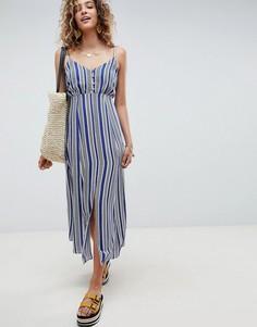 Платье макси в полоску с пуговицами ASOS DESIGN - Мульти