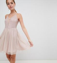 Кружевное платье мини без рукавов ASOS DESIGN Petite - Розовый