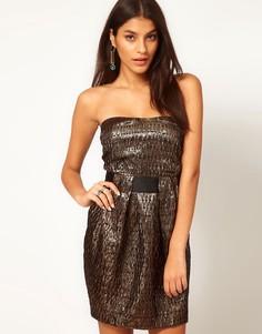 Жаккардовое платье с вырезами на спине ASOS - Золотой