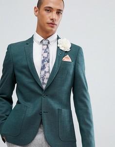 Зеленый приталенный блейзер с добавлением шерсти ASOS DESIGN Wedding - Зеленый