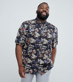 Рубашка с короткими рукавами и тропическим принтом D-Struct PLUS - Черный