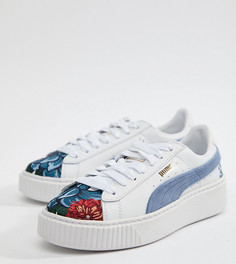Белые замшевые кроссовки на платформе с вышивкой Puma - Белый