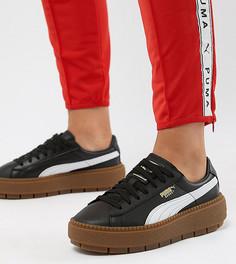 Черные кроссовки на платформе с резиновой подошвой Puma Trace - Белый
