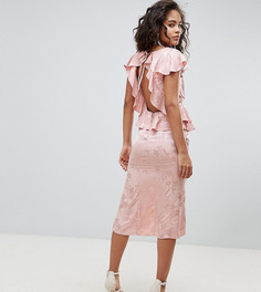 Чайное платье миди из жаккарда с оборками ASOS DESIGN Tall - Розовый