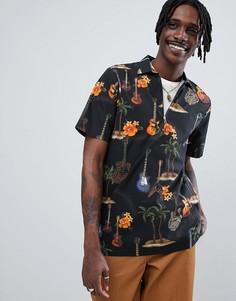 Рубашка с темным пальмовым принтом Just Junkies - Черный