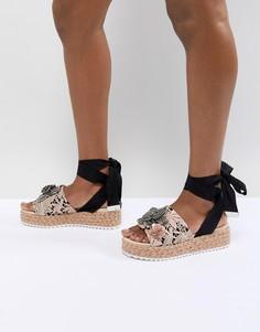 Туфли на плоской платформе с завязками и отделкой ASOS DESIGN Thyme - Мульти