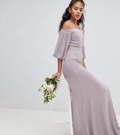Декорированное платье макси с открытыми плечами и эффектными рукавами TFNC Tall - Серый