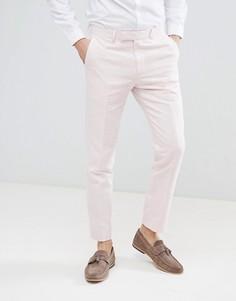 Светло-розовые брюки скинни из ткани с добавлением льна Moss London Wedding - Розовый