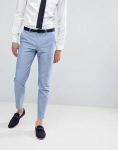 Голубые брюки скинни из ткани с добавлением льна Moss London Wedding - Синий