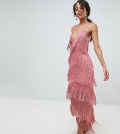 Облегающее платье макси с бахромой ASOS DESIGN Tall - Розовый