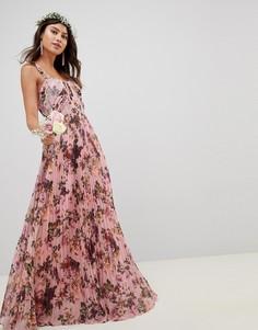 Розовое платье макси без рукавов с плиссировкой и цветочным принтом ASOS DESIGN - Розовый