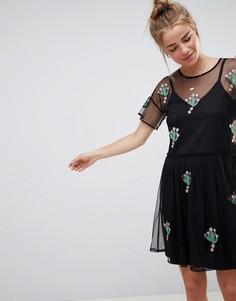 Свободное платье с аппликациями в виде кактусов ASOS DESIGN - Черный