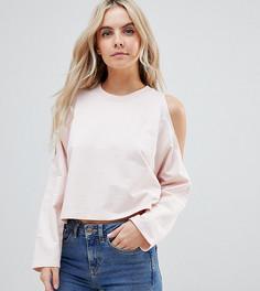 Укороченный свитшот с открытыми плечами ASOS DESIGN Petite - Розовый