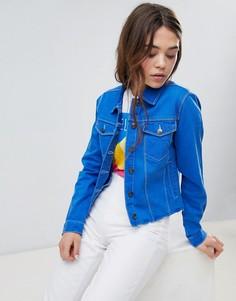 Куртка из окрашенного денима с необработанной кромкой Brave Soul Harris - Синий