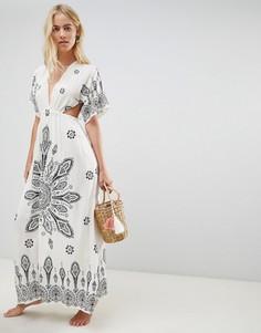 Пляжное платье-кимоно макси с принтом ASOS DESIGN - Мульти