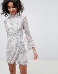 Короткое приталенное платье с бахромой и пайетками ASOS EDITION - Серый
