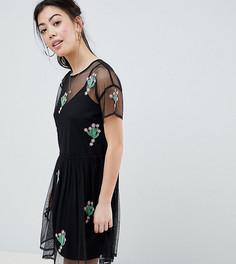 Свободное платье с аппликацией в виде кактуса ASOS DESIGN Petite - Черный