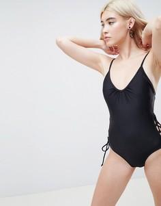 Слитный купальник со шнуровкой по бокам Pieces - Черный