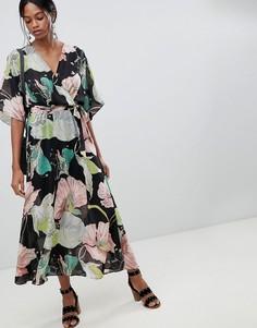 Платье макси с цветочным принтом и открытой спиной Liquorish - Мульти
