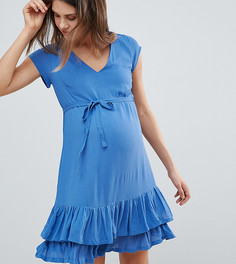 Платье с оборкой по краю Mamalicious - Темно-синий Mama.Licious