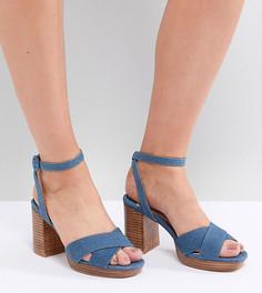 Джинсовые босоножки на каблуке для широкой стопы Faith Wide Fit - Синий