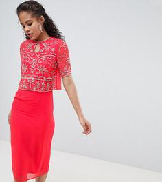 Платье 2-в-1 с отделкой на лифе Frock And Frill Tall - Розовый