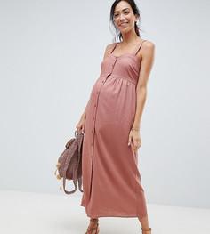 Платье макси на пуговицах ASOS DESIGN Maternity - Розовый
