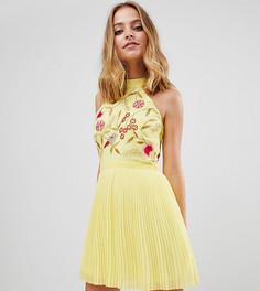 Плиссированное платье мини с вышивкой на лифе Frock And Frill Petite - Желтый