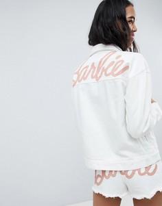 Джинсовая куртка с блестящим логотипом Missguided Barbie - Белый