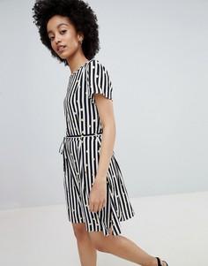 Короткое приталенное платье в полоску и горошек Only - Мульти