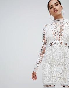 Платье мини с длинными рукавами и вязаным кружевом Missguided - Белый