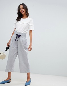 Широкие брюки в полоску с завязкой Vila - Темно-синий