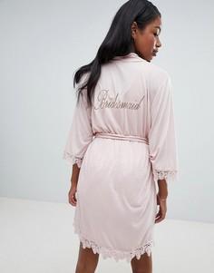 Халат-кимоно с кружевной отделкой ASOS DESIGN - Розовый