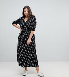 Чайное платье макси в горошек Glamorous Curve - Черный
