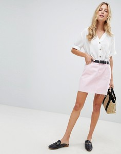 Розовая джинсовая мини-юбка ASOS DESIGN - Розовый