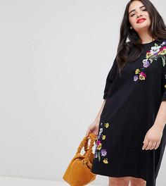 Платье-футболка с вышивкой ASOS DESIGN Curve - Черный