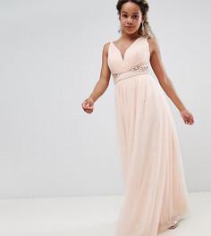 Телесное платье макси с декорированной талией и кружевом на спине Little Mistress Petite - Розовый