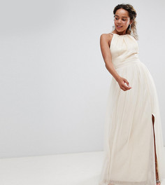 Кремовое платье макси с пайетками Little Mistress Petite - Кремовый