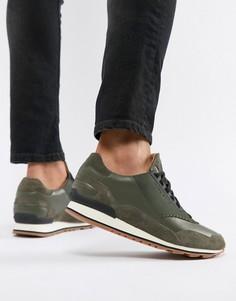 Кожаные кроссовки цвета хаки BOSS Zephir - Зеленый