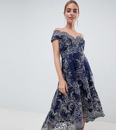 Кружевное платье миди с широким вырезом City Goddess Petite - Темно-синий