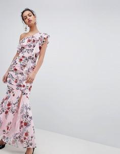 Платье макси на одно плечо с цветочным принтом Keepsake - Розовый