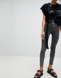 Выбеленные черные супероблегающие джинсы с завышенной талией Cheap Monday - Черный