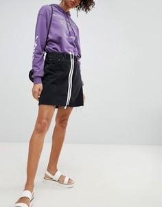 Джинсовая юбка с белой молнией Cheap Monday - Черный