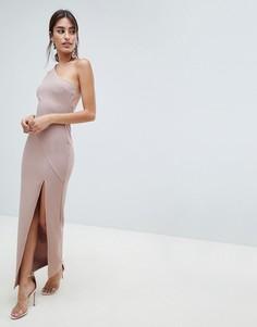 Сетчатое платье макси в рубчик ASOS DESIGN - Розовый